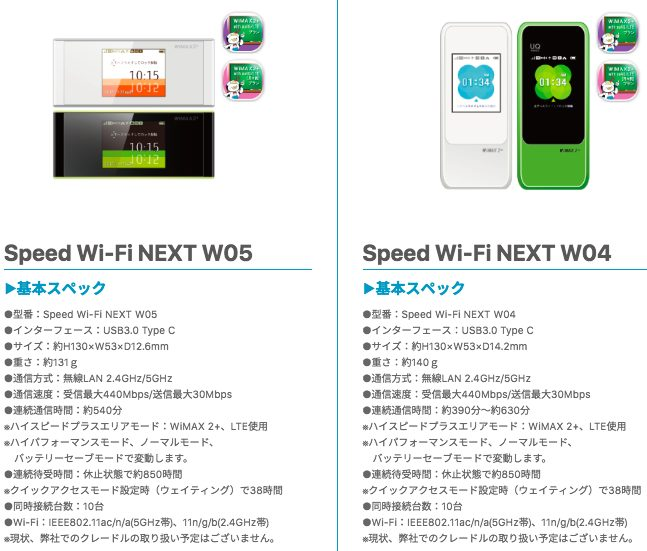FujiWifiのWiMAX回線用ルーター